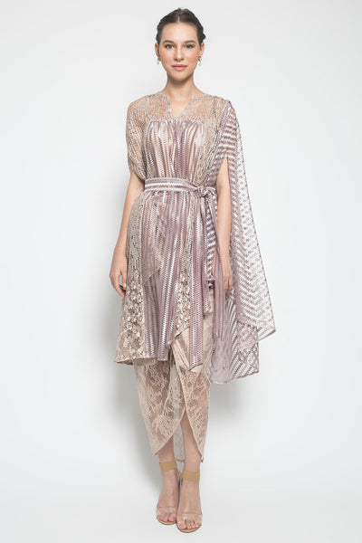 MYVB Atelier Sorcha Asymmetric Ruffle Top in Nude Purpleish