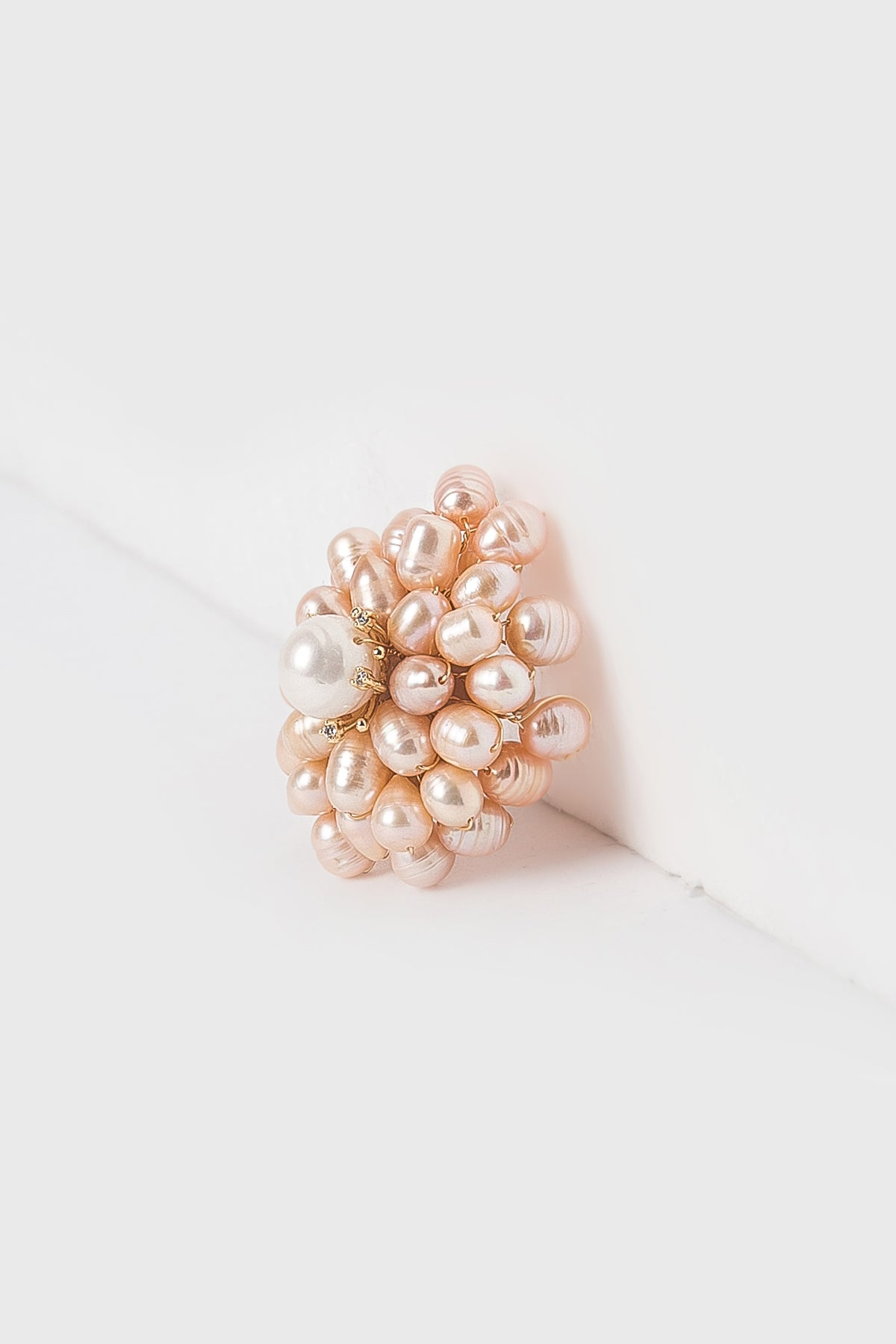 Full Flowers with Pearls Brooch in Pink