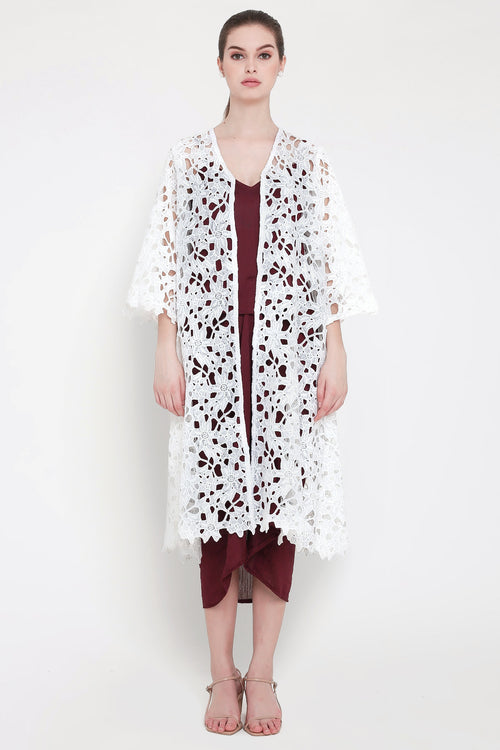 Aida Outer Dress in White Maroon