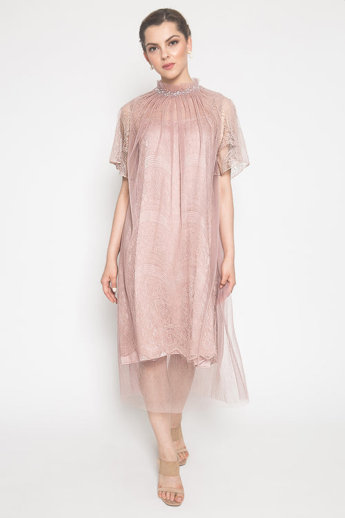 Anata Pleats Dress in Peach