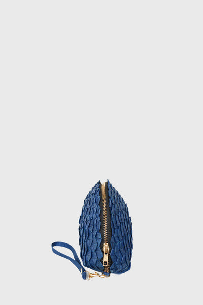 Braided Halfmoon Clutch in Navy Blue