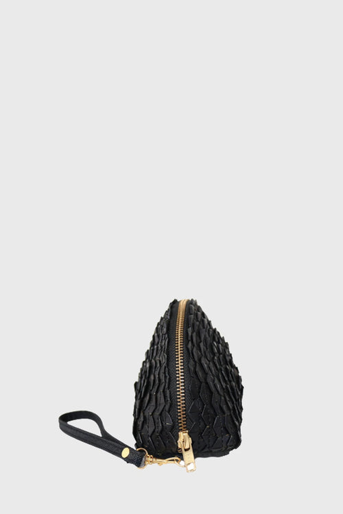 Braided Halfmoon Clutch in Black