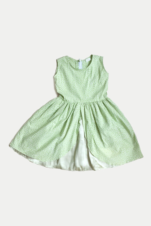 Marie Tulip Dress in Green Bintik