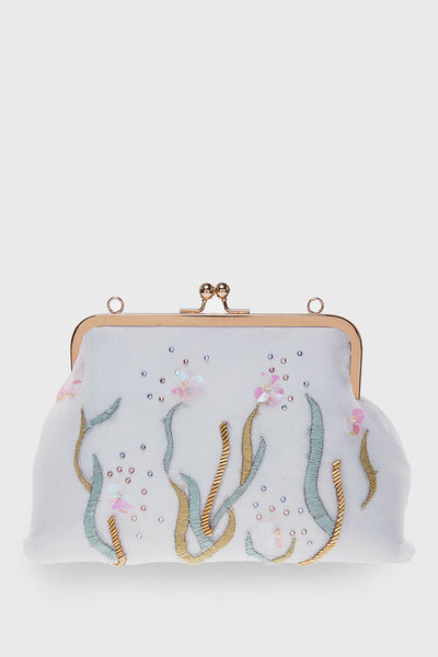 Wildflower Trapeze Clutch in Mint