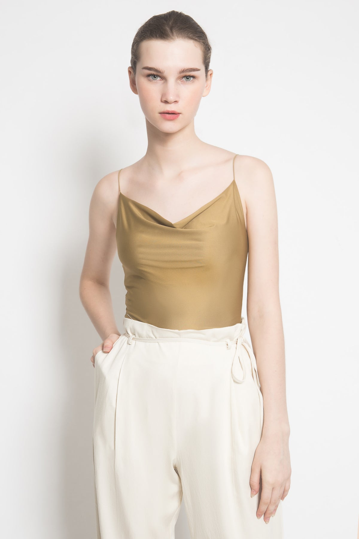 Essi Draped Top in Olive