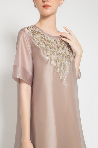 Cavina Dress in Grey and Gold
