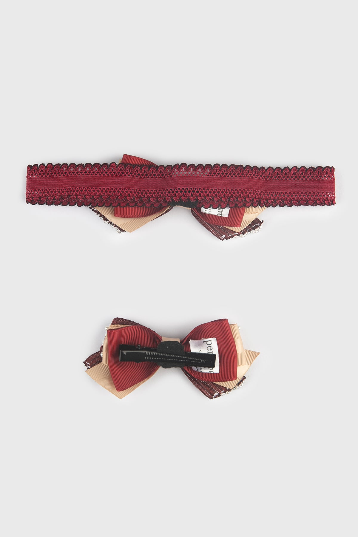Brielle Small Bow in Maroon