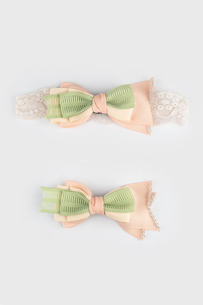 Molly Bow in Green Peach