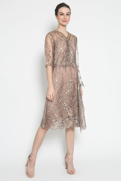 Ashley Dress in Brown Pink