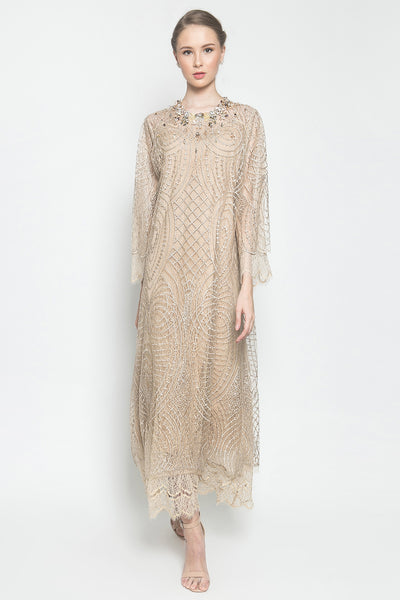 Audrey Long Dress in Skin Gold