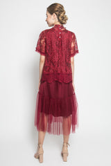 Martiza Dress Twist Tulle in Maroon