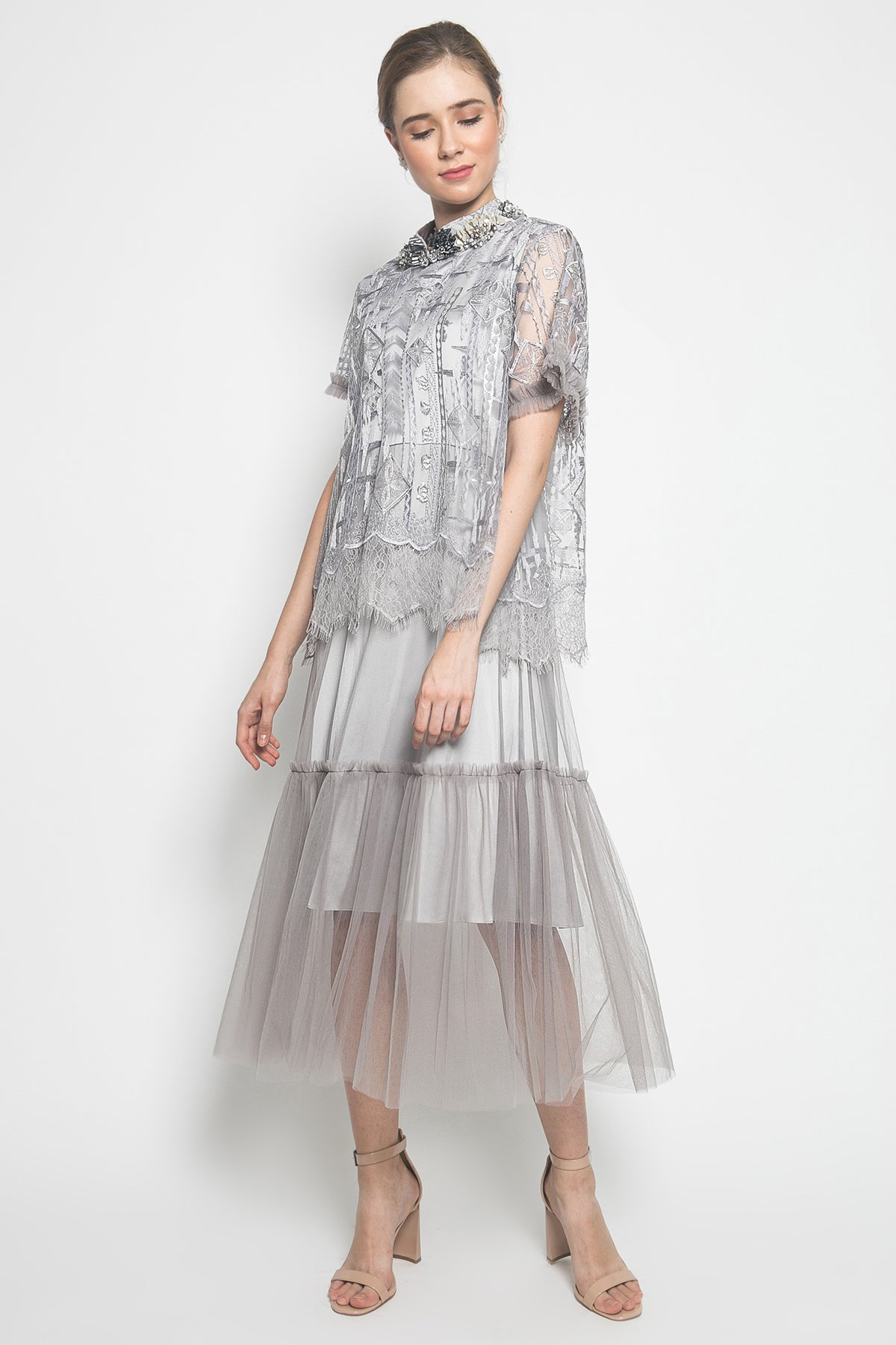 Martiza Dress Twist Tulle in Silver
