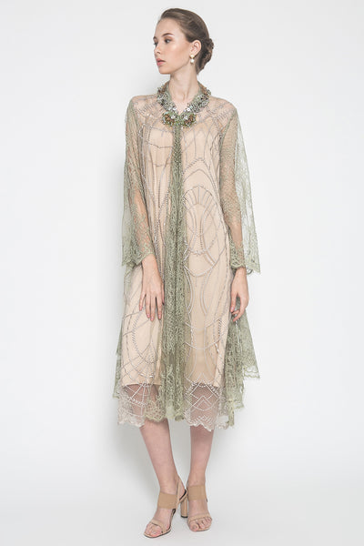 Ghaliyah Outer Dress in Creme Twist Olive