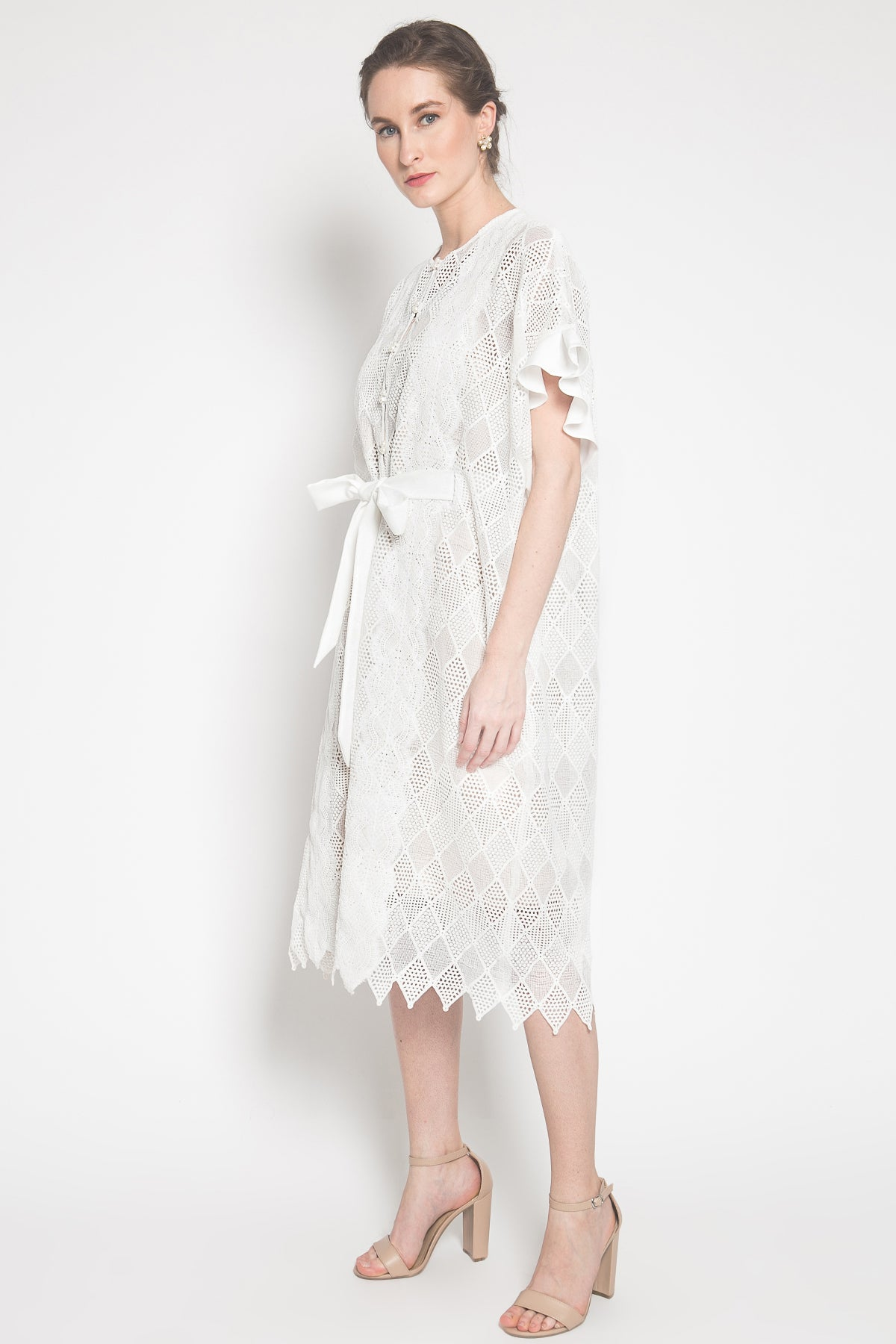 New White Lace Midi Kaftan