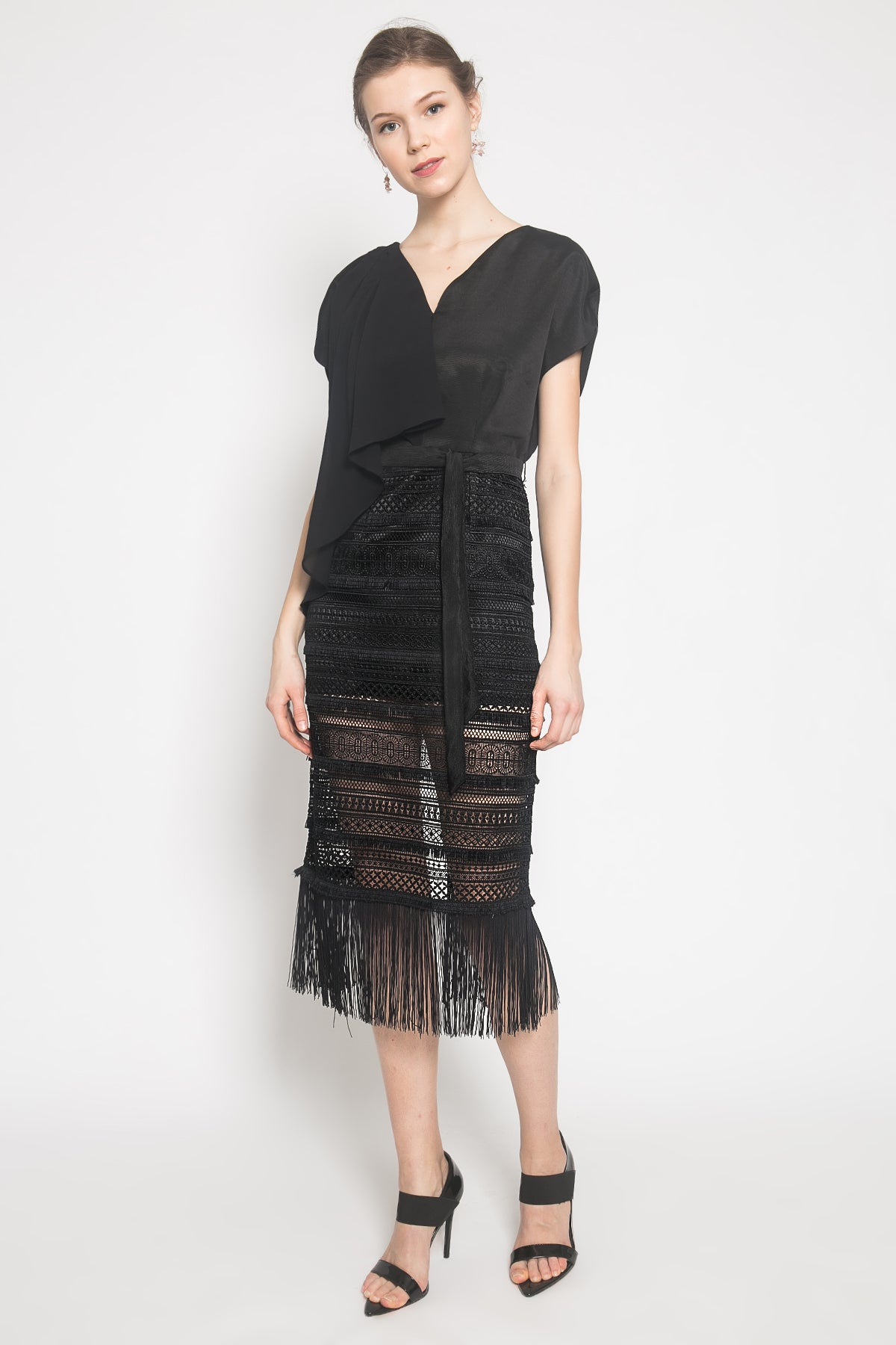 Crochet Fringe Dress in Black