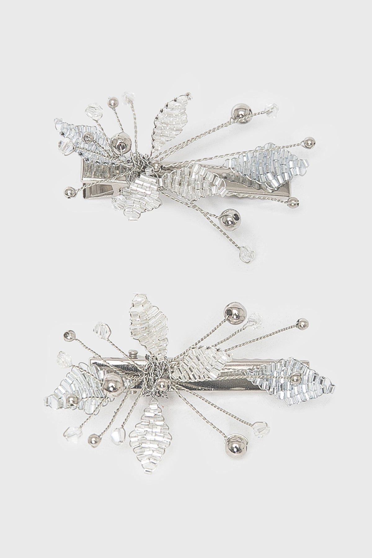 Launa Hairclips in Silver Pack of Two