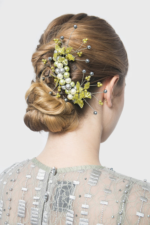 Candytuft Hairpiece in Lime