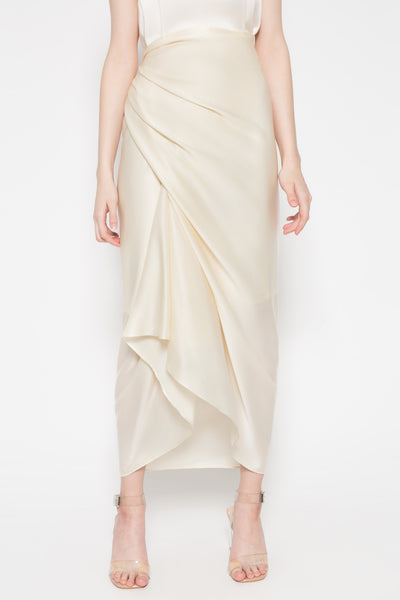 Sarong Sateen Skirt in Ivory