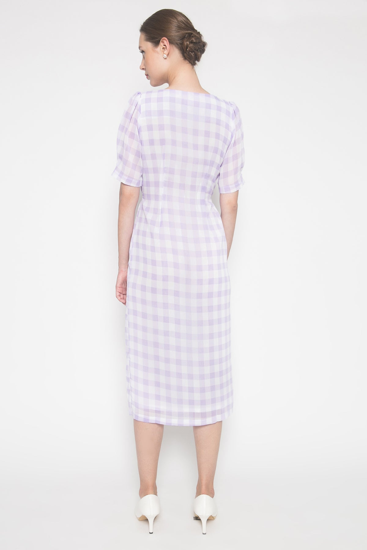 Romane Dress in Lilac Gingham