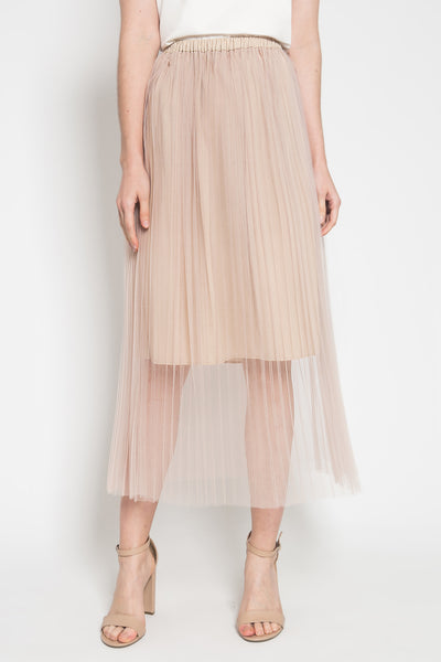 Ruh Pleated Skirt in Creme