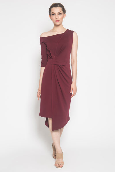 Livia Dress in Maroon