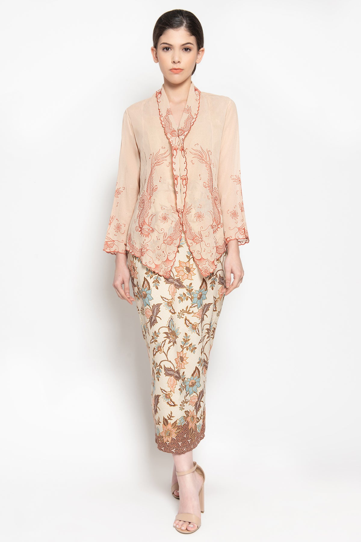 Dragon Kebaya Top in Beige