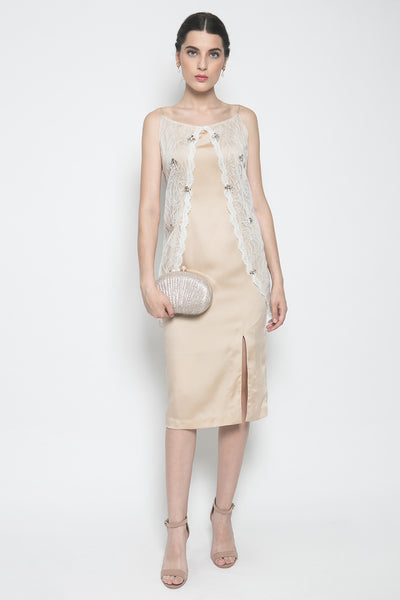 Alteir Chic Spring Midi Dress in Nude