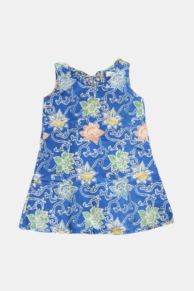 Ribby Dress in Blue Flower
