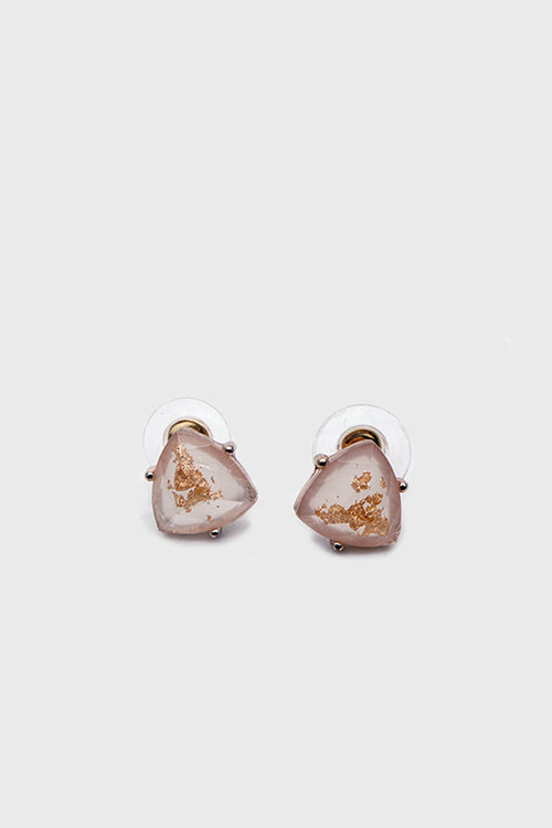 Elena Gold Flakes Studs White