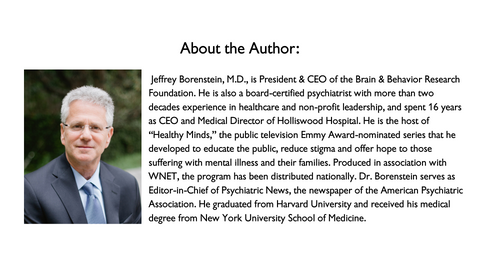 Dr. Jeffrey Borenstein is the President of the Brain and Behavior Research Foundation.