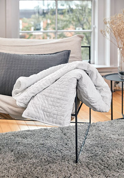 white weighted blanket on chair