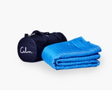 Calm and Gravity Travel Blanket in Calm blue with travel bag
