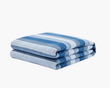 Blue Stripe Flannel Duvet Cover on weighted inner.