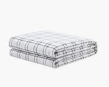 Grey Plaid Flannel Duvet Cover on weighted inner.