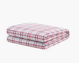 Red Plaid Flannel Duvet Cover on weighted inner.