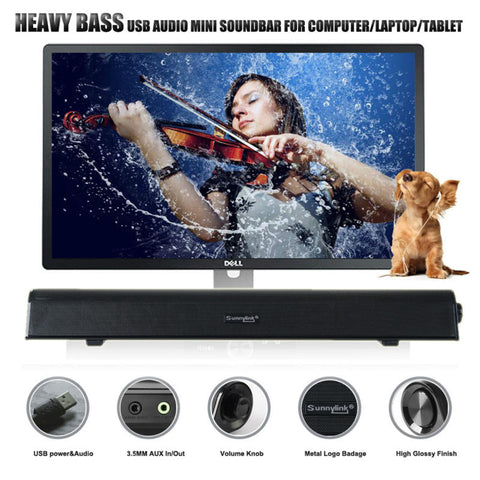 HEAVY BASS USB SOUNDBAR SPEAKER FOR SMARTPHONE, COMPUTER & LAPTOP