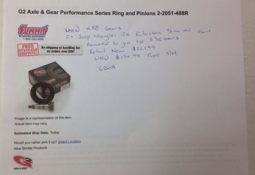 Performance Gear Jeep Wrangler JK Rubicon (ZG D44-488) Dana 44, 4.88 Ring Pinion