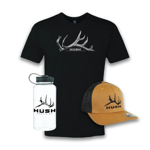 grey shirt and white bottle and tan hat bundle