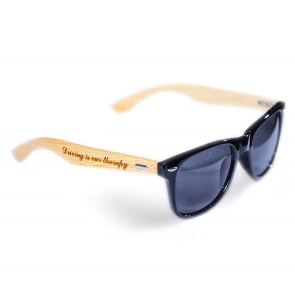 Driving Is Our Therapy Bamboo Sunglasses
