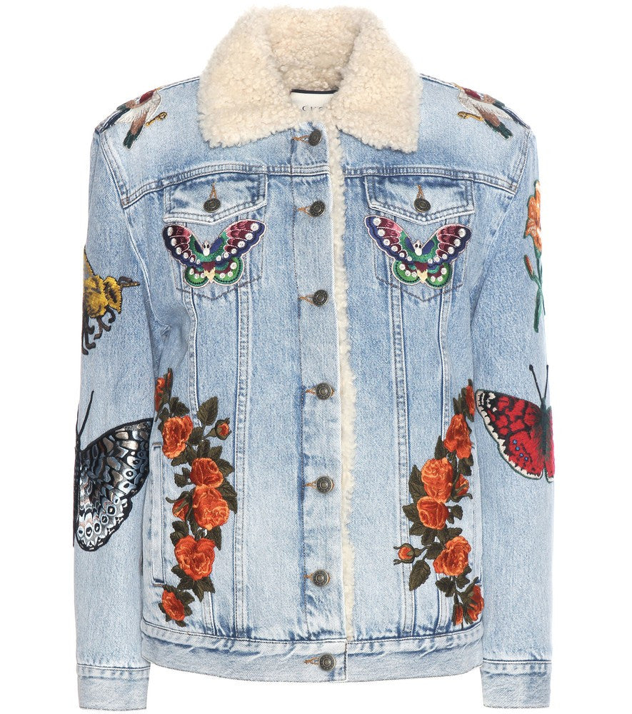 Gucci Embroidered denim jacket with shearling Size 46