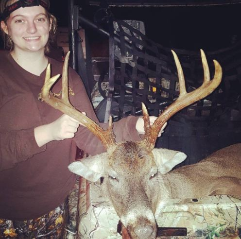 She's hunted for 9 days straight! He's a nice, mature buck