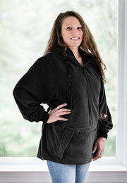 "IWOM Outerwear LLC Fleece Black / 5'2""-5'8"" / Small-Medium IWOM Convertible Fleece Hoodie (Tradeshow Demo)"