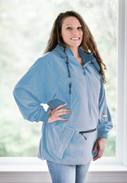"IWOM Outerwear LLC Fleece Light Blue / 5'2""-5'8"" / Small-Medium IWOM Convertible Fleece Hoodie (Like New Size Return)"
