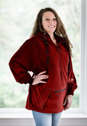 "IWOM Outerwear LLC Fleece Red / 5'2""-5'8"" / Small-Medium IWOM Convertible Fleece Hoodie (Tradeshow Demo)"