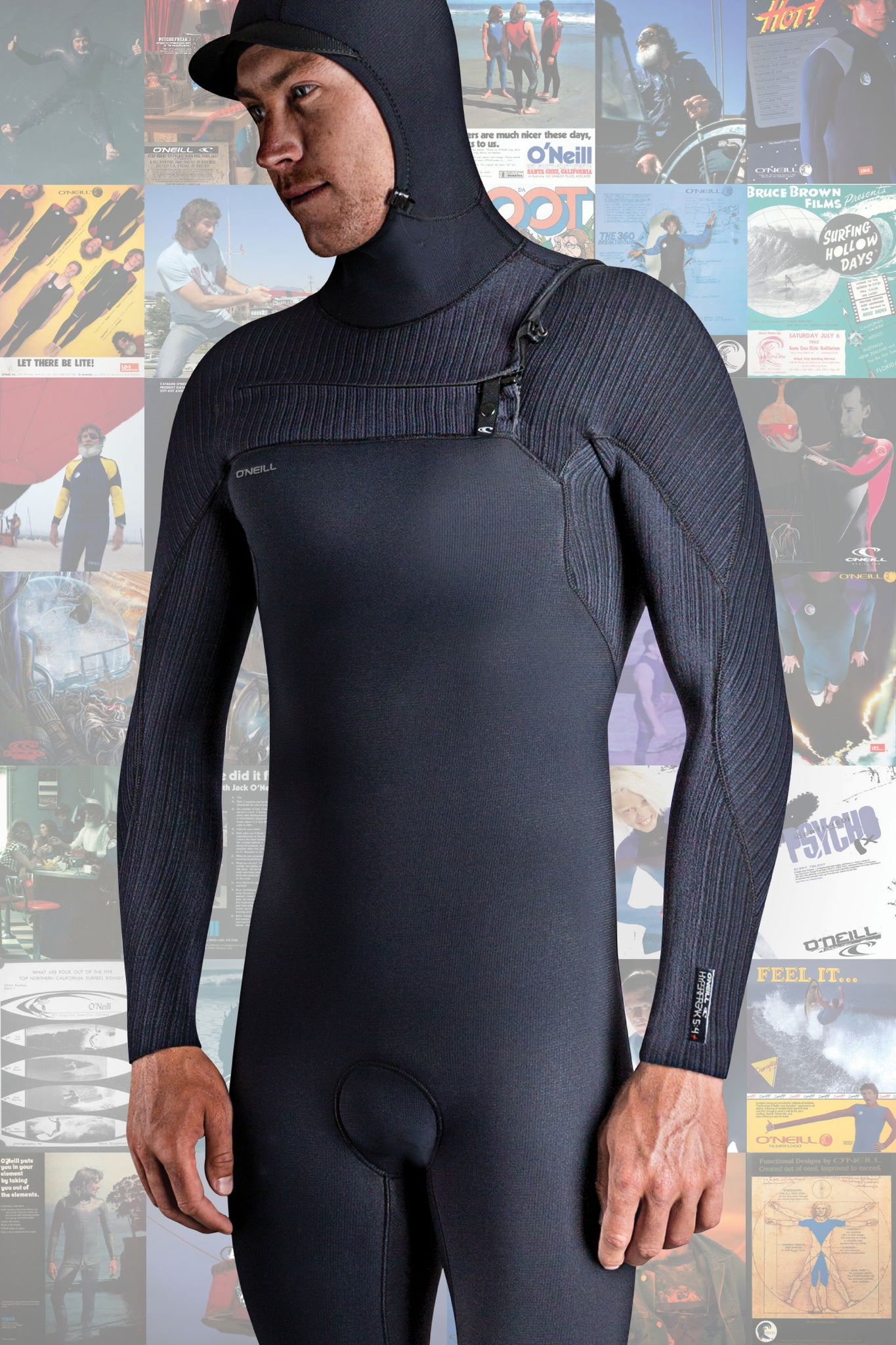 Hyperfreak 4/3+Mm Chest Zip W/Hood Full Wetsuit - Black/Black | O'Neill