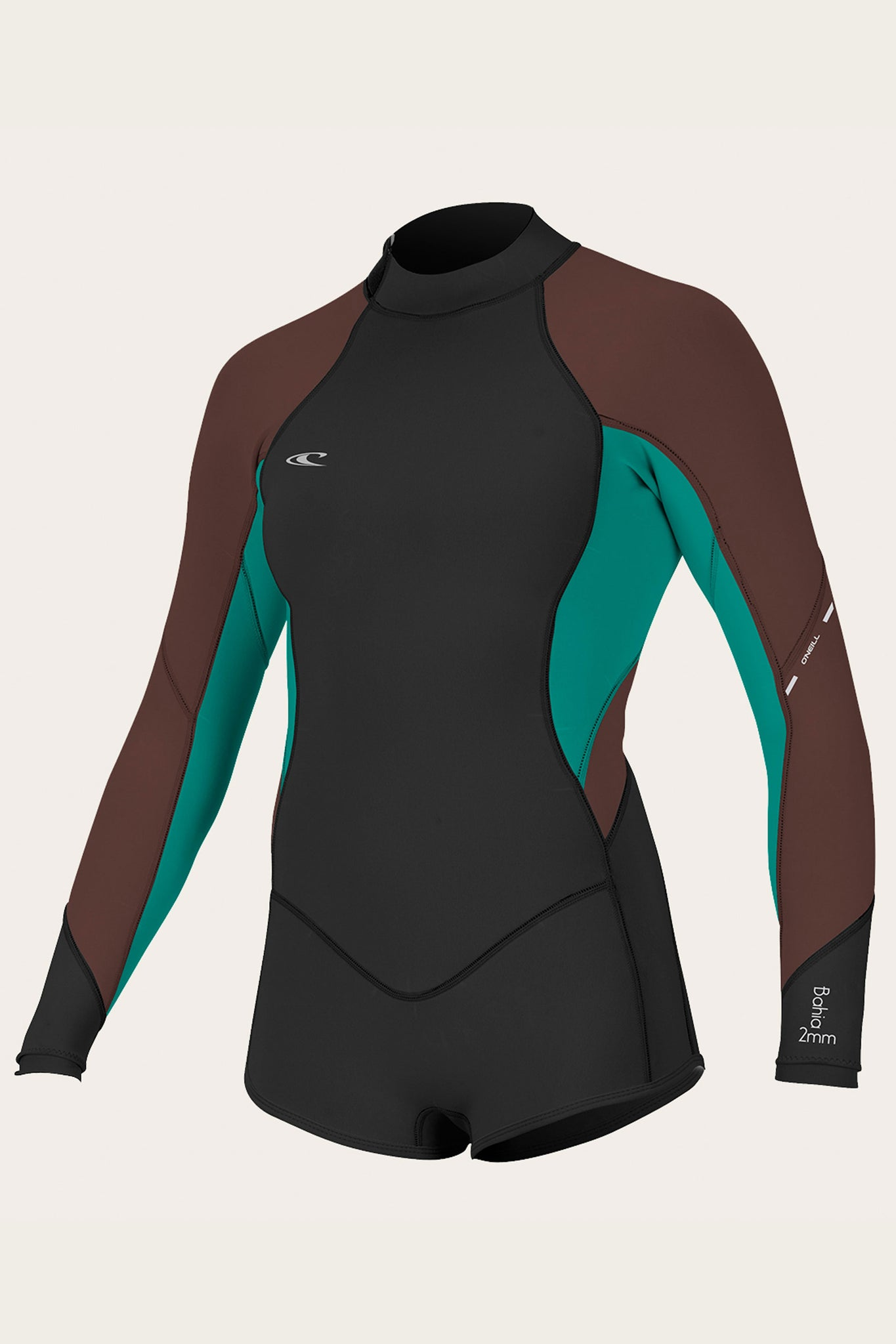 Women's Bahia 2/1Mm Back Zip L/S Short Spring Wetsuit - Blk/Capribrz/Pepper | O'Neill