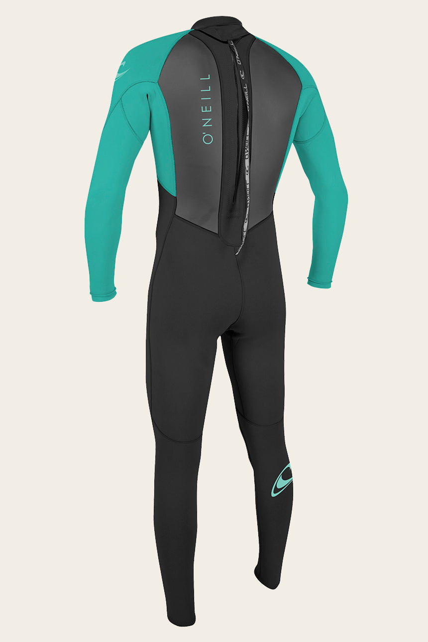 Youth Reactor Ii 3/2Mm Back Zip Full Wetsuit - Blk/Ltaqua | O'Neill