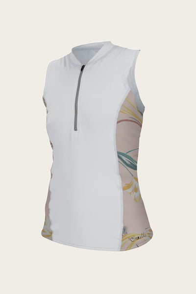 WOMEN'S FRONT ZIP CAP SLEEVE SUN SHIRT
