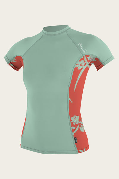WOMEN'S SIDE PRINT S/S RASH GUARD
