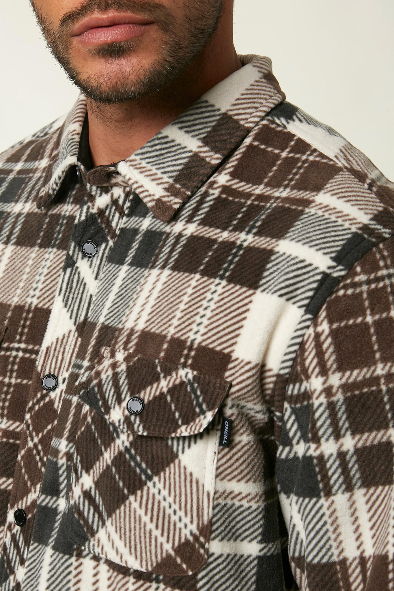 Glacier Plaid Superfleece Flannel - Light Khaki | O'Neill